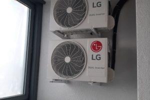 Монтаж двух кондиционеров марки LG производился в жилом комплексе Ольховский парк.